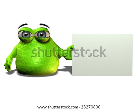 A green cartoon blob character holding a blank sign. - stock photo