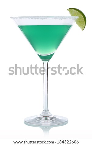 A green cocktail in Martini glass, isolated on a white background - stock photo
