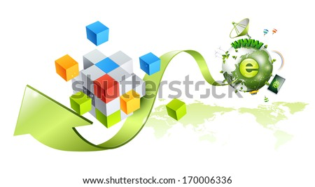 A green earth with an arrow pointing away from it. - stock photo