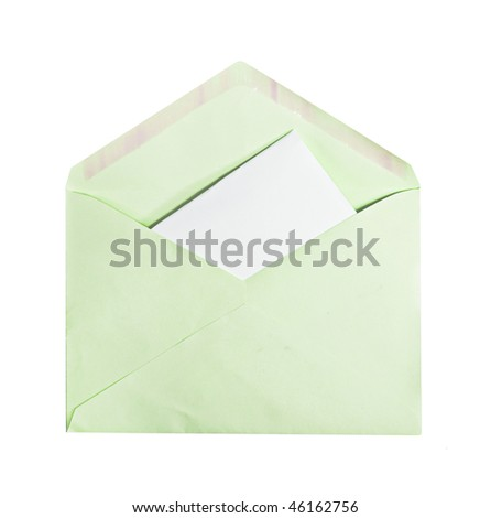 A green envelope with letter inside, copyspace, isolated on white - stock photo