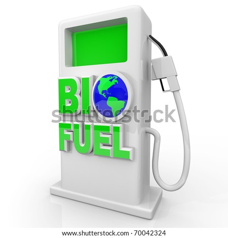 A green, environmentally friendly and efficient gas pump with the words Bio Fuel - stock photo