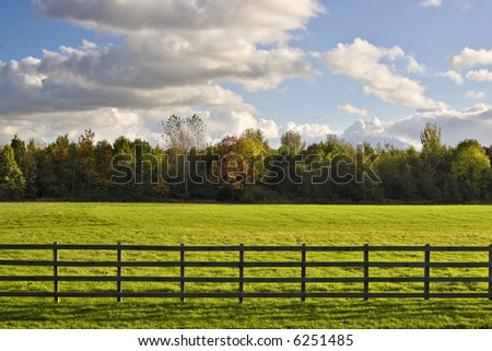 A green field behind a fence, with trees and fluffy clouds - stock photo
