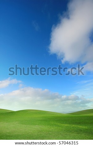 A green field with blue sky and clouds - stock photo