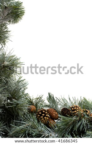 A green garland with pine cones border isolated on a white background - stock photo