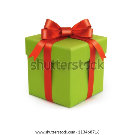 A green gift with a red ribbon and a bow - stock photo