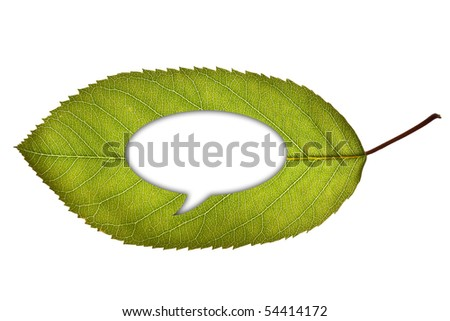 A green leaf with a cut out speech bubble, isolated on white background - stock photo