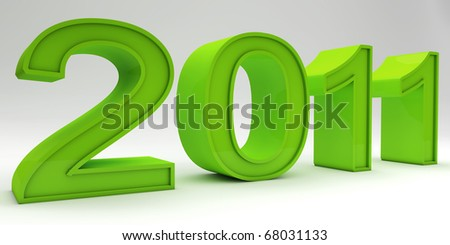 A green new year concept isolated on white - stock photo