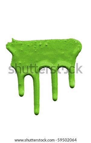 a green paint drips on white - stock photo