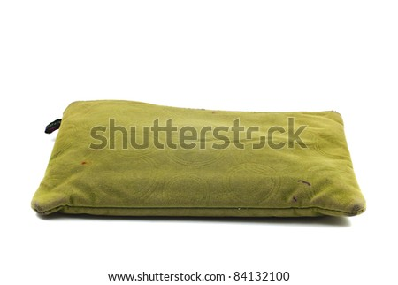 a green pencil case isolated - stock photo