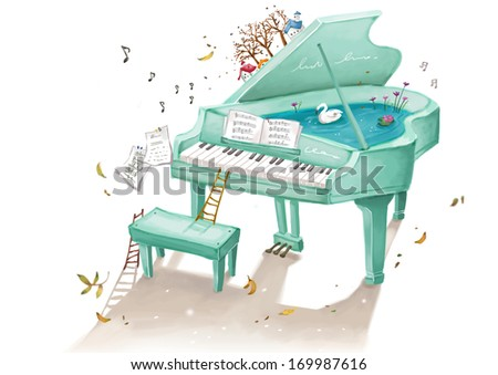 A green piano filled with water and a swan. - stock photo