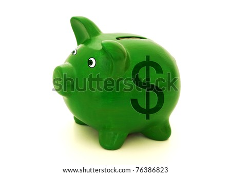 A green piggy bank with a dollar symbol on a white background, Saving money - stock photo