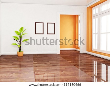 a green plant in the empty room, rendering - stock photo