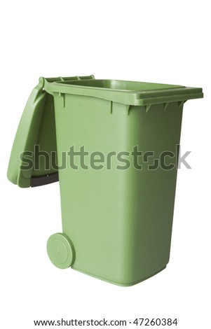 A green recycle bin isolated over white, shot in studio, great for concepts of conservation and recycling - stock photo