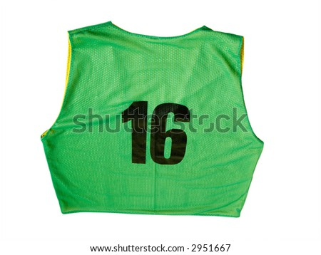 A green sports jersey isolated on a white background - stock photo