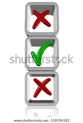 A green tick and couple of red crosses in side of white boxes / Solution - stock photo