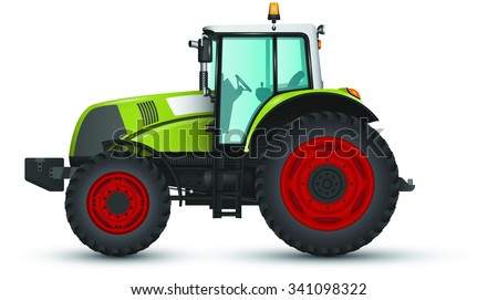 A green tractor with red wheels