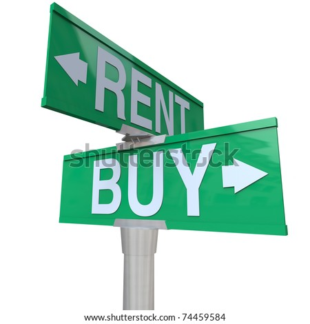 A green two-way street sign pointing to Buy and Rent, symbolizing being at a crossroads and deciding between renting a house, car or other object versus the benefits of buying - stock photo