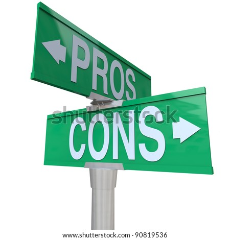A green two-way street sign pointing to Pros and Cons comparing your options so you can decide the best choice for you and make a decision - stock photo