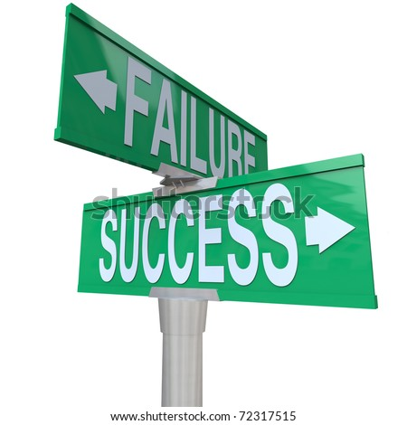A green two-way street sign pointing to Success and Failure, symbolizing being at a crossroads and deciding between a good and bad outcome or fate - stock photo