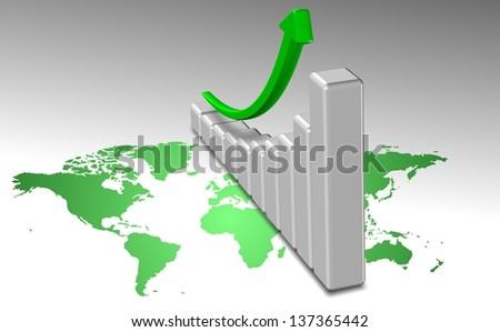 A green world map and upward chart above it / Global business chart - stock photo