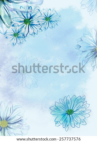 A greeting card template with watercolor texture, daisies and place for text