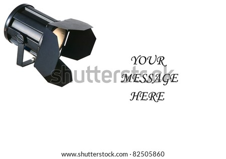 A greeting card with the image of a barn door light shining on the message. - stock photo