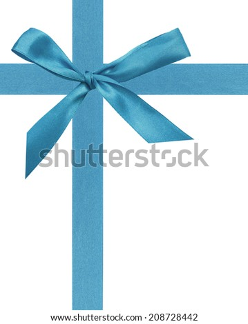 A greeting ribbon and blue bow  - stock photo