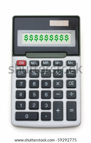A grey calculator isolated on a white background, Money matters - stock photo