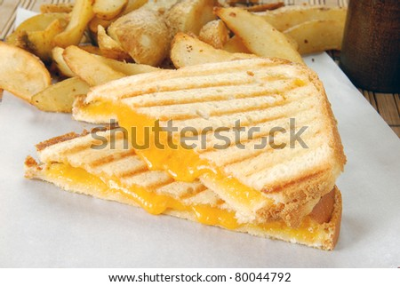 A grilled cheese sandwich and homemade french fries - stock photo