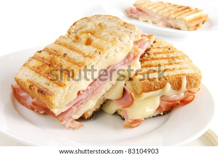 A grilled ham and swiss cheese sandwich - stock photo