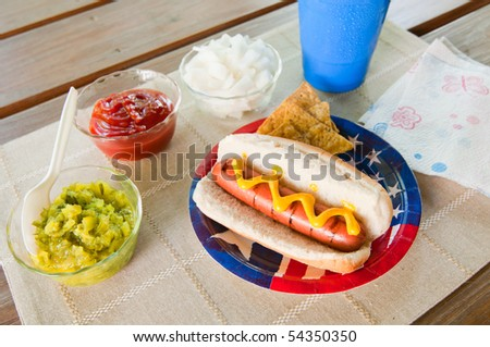 A grilled hot dog on a patriotic flag plate with condiments and chips - stock photo