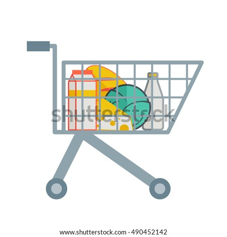A grocereies inside the supermarket cart. A contemporary style. flat design illustration with isolated white background. square layout