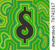 A groovy dollar sign with psychedelic offset swirls in shades of green. - stock vector