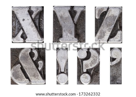 A group of antique lead letterpress letters - stock photo