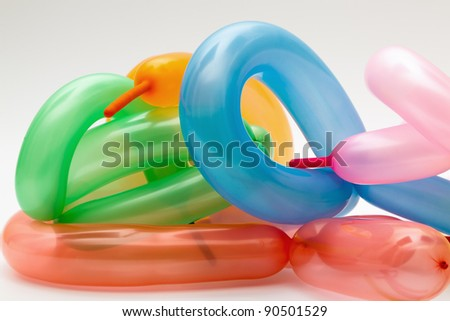 A group of balloons on white background