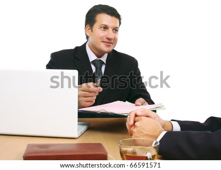 a group of business men working together on white - stock photo