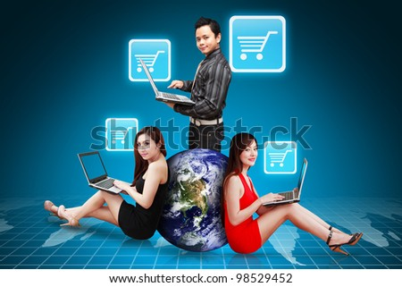 A group of Business people and Cart icon : Elements of this image furnished by NASA - stock photo