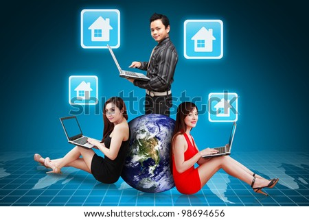 A group of business people and house icon : Elements of this image furnished by NASA - stock photo
