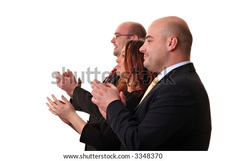 A group of business people applauding. Isolated on a white background - stock photo