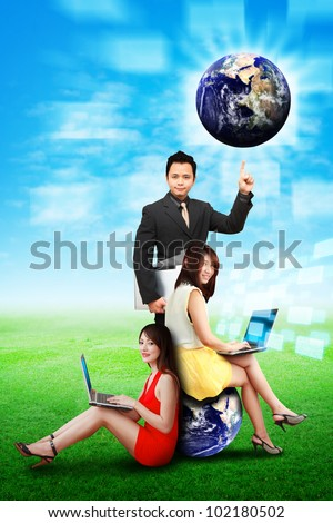 A group of business people help the world : Elements of this image furnished by NASA