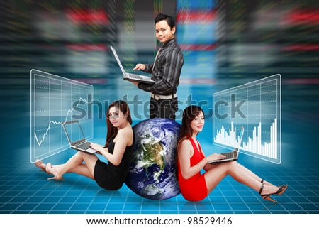 A group of Business people present the stock exchange graph report : Elements of this image furnished by NASA