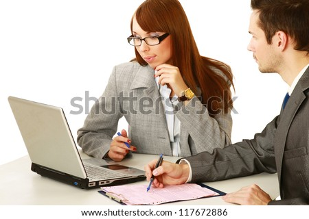 A group of business people working together on white background