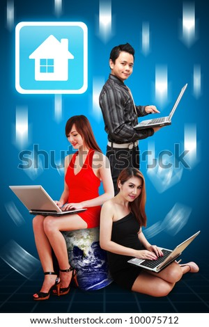 A group of business team present the House icon : Elements of this image furnished by NASA - stock photo