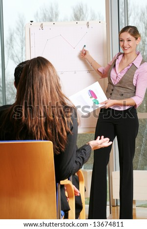 a group of businesspeople and a flipchart - stock photo