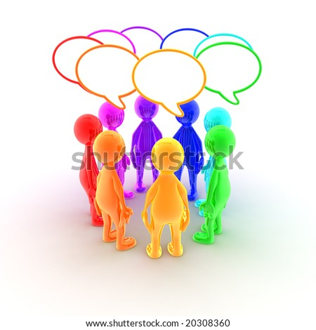 A group of characters is having a discussion. - stock photo