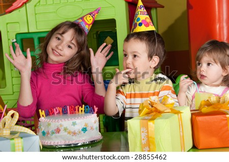 A group of children at a birthday party - stock photo