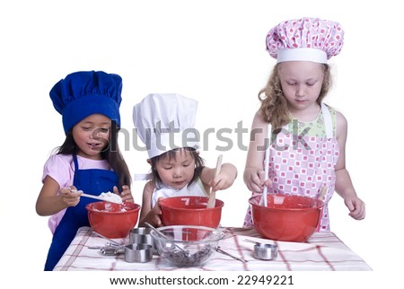 A group of children cooking up something in the kitchen. Isolated on white - stock photo