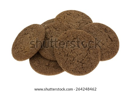 A group of chocolate cookies on a white background. - stock photo