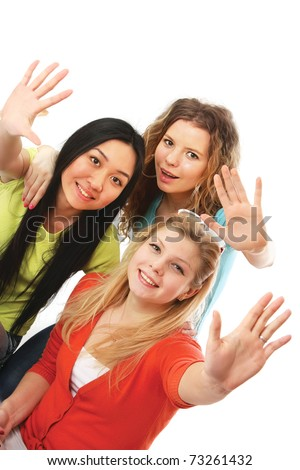 A group of college friends waving hands - stock photo