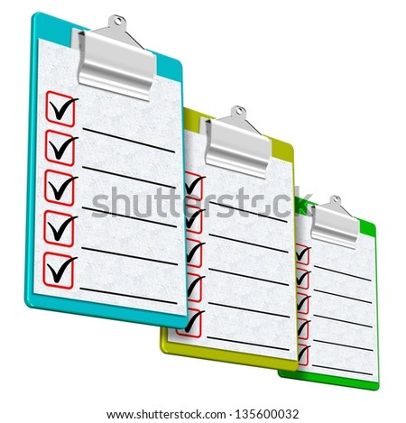 A group of colorful clipboards with sheets of paper attached / Clipboards - stock photo